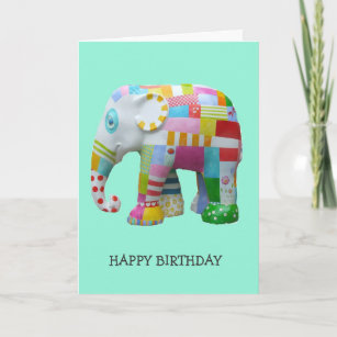 Cute Toy Retro Elephant Whimsical Birthday Card