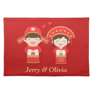 Cute Traditional Chinese Couple Wedding Decor Place Mats