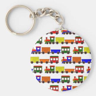 Cute Train Print Basic Round Button Key Ring