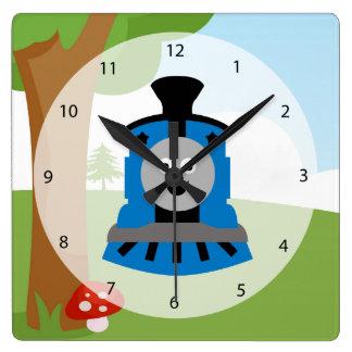 Cute train square wall clock