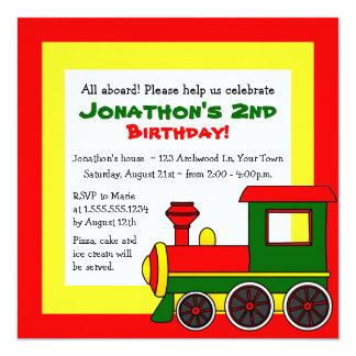 Cute Train Theme Kids Birthday - Red Green Yellow Card
