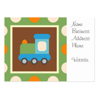 Cute Train Transportation Green Orange Polka Dots Pack Of Chubby Business Cards