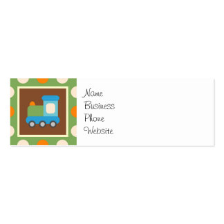 Cute Train Transportation Green Orange Polka Dots Pack Of Skinny Business Cards