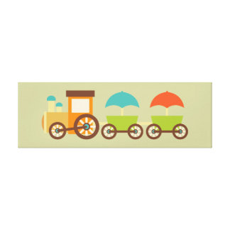 Cute Train Wrapped Canvas Kids Wall Decor Baby Canvas Prints