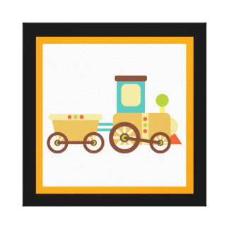 Cute Train Wrapped Canvas Wall Decor for Kids Stretched Canvas Print
