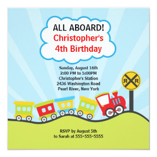 Cute Trains Birthday Party Invitation