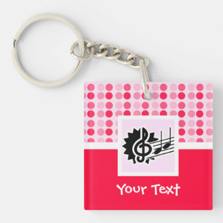Cute Treble Clef Double-Sided Square Acrylic Keychain
