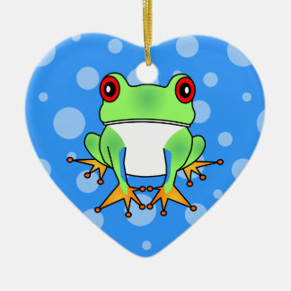 Cute Tree Frog Cartoon Christmas Ornament