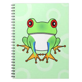 Cute Tree Frog Cartoon - Light Green Circles Notebooks