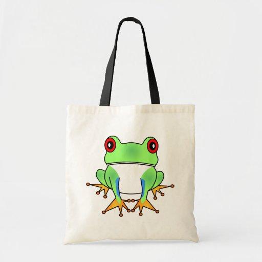 Cute Tree Frog Cartoon Tote Bag