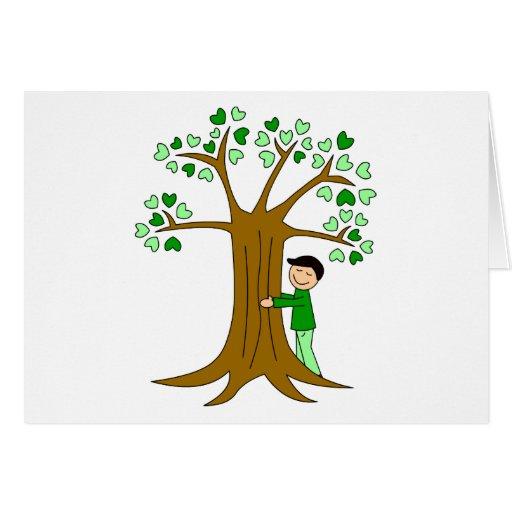 Cute Tree Hugger Design Greeting Cards