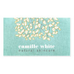 Cute Tree Leaves Light Turquoise Linen Look Pack Of Standard Business Cards