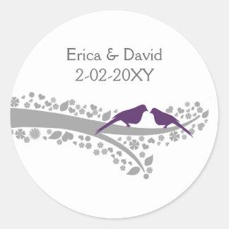 cute tree purple lovebirds wedding favor stickers