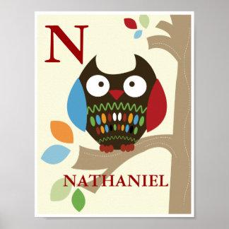 Cute Tree Tops Owl Nursery Print
