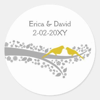 cute tree yellow lovebirds wedding favor stickers