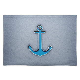 Cute Trendy Blue Paper Heart Anchor Placemat