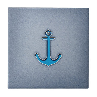 Cute Trendy Blue Paper Heart Anchor Small Square Tile