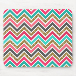 Cute trendy chevron faux glitter zigzag pattern mousepad