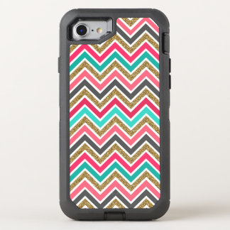 Cute trendy chevron faux glitter zigzag pattern OtterBox defender iPhone 8/7 case