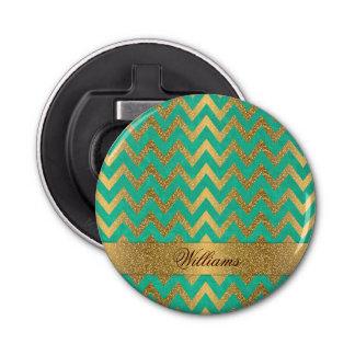 Cute trendy chevron zigzag faux gold glitter bottle opener