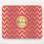 Cute trendy chevron zigzag faux gold glitter mouse pad