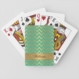 Cute trendy chevron zigzag faux gold glitter poker deck
