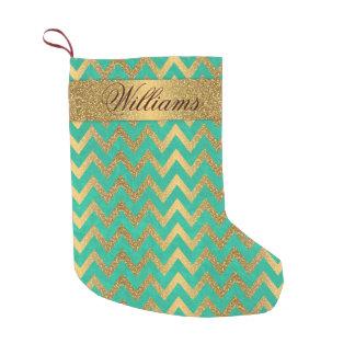 Cute trendy chevron zigzag faux gold glitter small christmas stocking