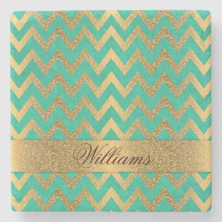 Cute trendy chevron zigzag faux gold glitter stone coaster