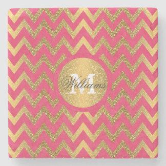 Cute trendy chevron zigzag faux gold glitter stone coaster