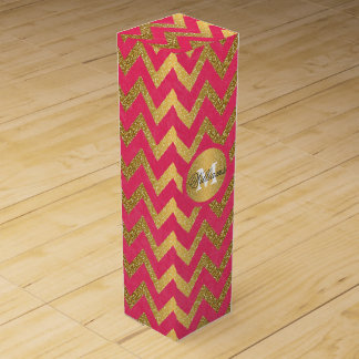 Cute trendy chevron zigzag faux gold glitter wine gift box