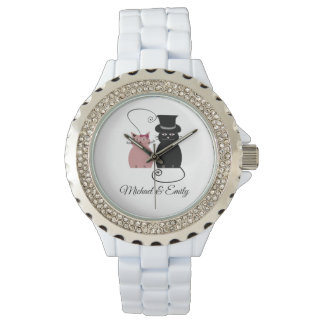Cute trendy chic funny cats in love personal watch