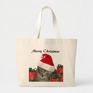 Cute trendy Christmas funny  Santa kitten Canvas Bag