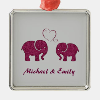 Cute trendy  elephant in love personalized christmas ornament
