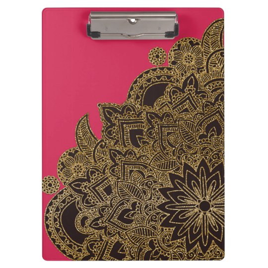 Cute trendy faux gold glitter flower henna clipboard