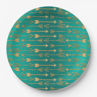 Cute trendy faux gold glitter tribal arrows 9 inch paper plate