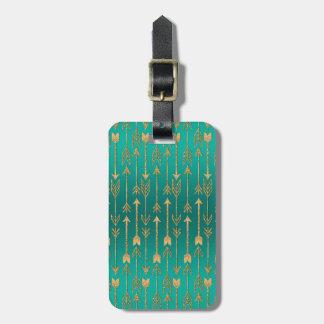 Cute trendy faux gold glitter tribal arrows luggage tag