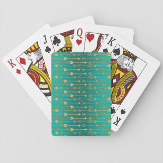 Cute trendy faux gold glitter tribal arrows poker deck