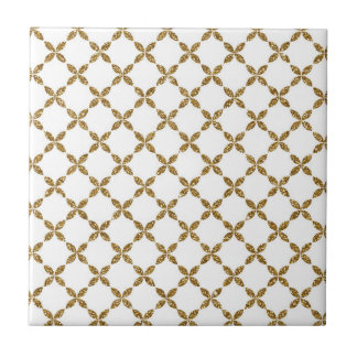 Cute trendy floral faux gold glitter pattern small square tile
