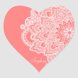 Cute trendy flower henna hand drawn design heart sticker