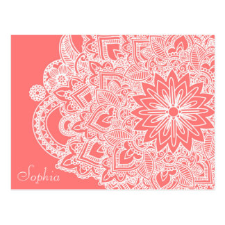 Cute trendy flower henna hand drawn design postcard