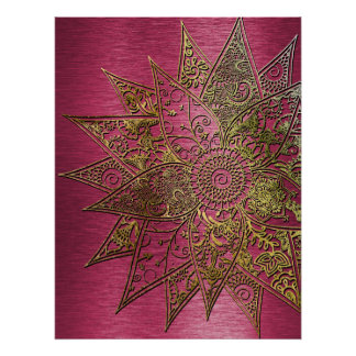 Cute trendy flower henna hand drawn design poster