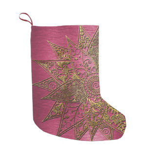 Cute trendy flower henna hand drawn design small christmas stocking