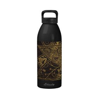 Cute trendy flower henna hand drawn design water bottles