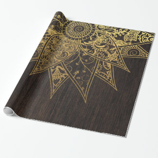Cute trendy flower henna hand drawn design wrapping paper