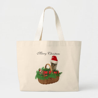 Cute trendy funny Christmas Santa kitten and mouse Jumbo Tote Bag