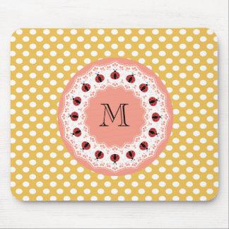 Cute trendy girly chic ladybugs monogram mouse pad