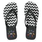 Cute trendy girly colourful chevron cats monogram flip flops