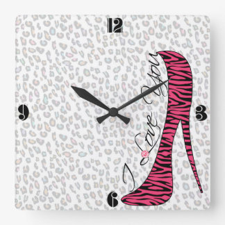"Cute trendy girly elegant ""I Love You"" high heels Clock"