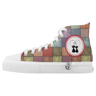 Cute trendy girly patchwork whimsical cats in love high tops