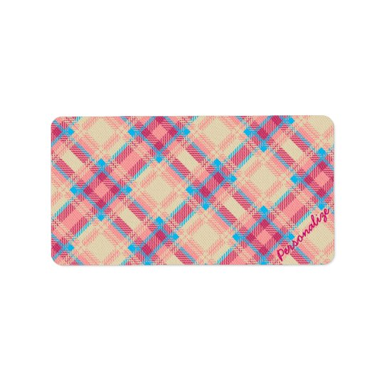 Cute trendy girly plaid pattern fabric effects label